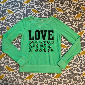 VS PINK Lime Green Leopard Sweatshirt VGUC Size M